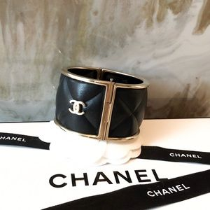 Chanel Quilted Black Leather Gold CC Cuff Bracelet